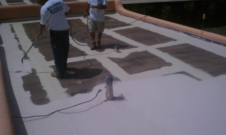 Roofer installing slate roof in Coleman, FL.